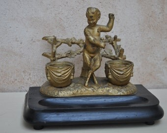 Vintage Antique French Inkwell Cold Painted Spelter on Wooden Base