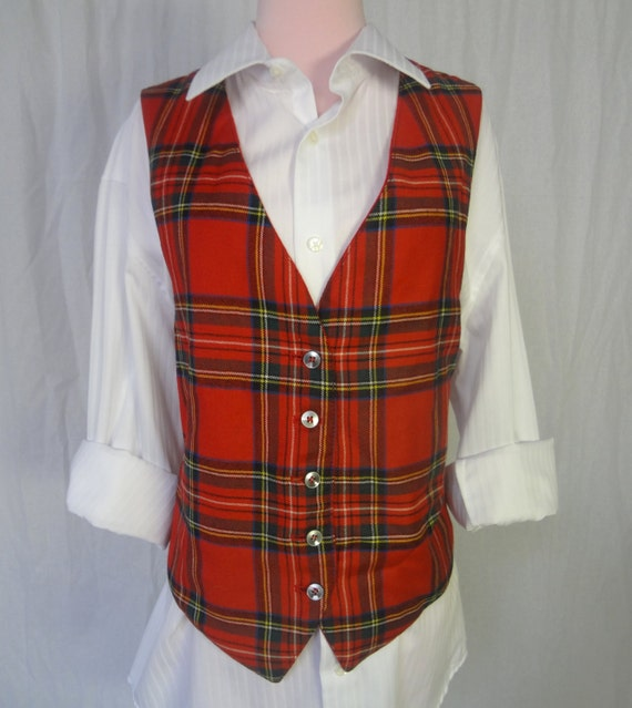 mens red and green plaid vintage vest ugly christmas sweater