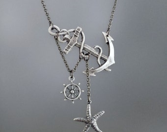 Lost at Sea Necklace, Silver Anchor, Anchor with Starfish, Anchor Wheel Necklace, Anchor with Ship Wheel, Mermaid Necklace, Sailor Gift