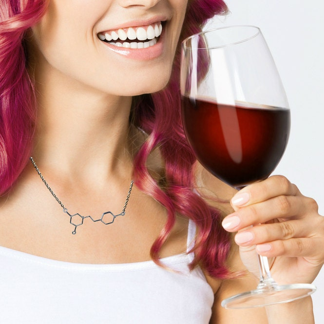 Resveratrol Necklace - Red Wine Molecule - Gift for a Wine Connoisseur or Sommelier - Chemistry Jewelry