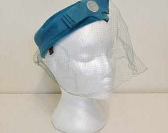 Vintage Pillbox Hat -- 60s Hat -- Birdcage Hat -- 1960s Blue Velvet Hat