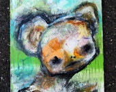 Cute Bear Original Painting. large acrylic abstract portrait, Colorful wall art, surreal animal face, orange rust green blue