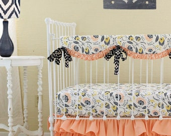 Peach and Navy baby bedding