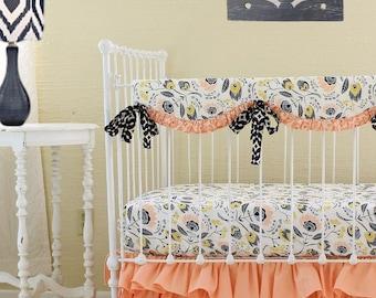 peach a la mode custom bumperless crib bedding set peach and navy baby girl bedding