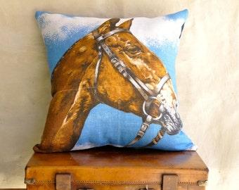 RACE HORSE Vintage Irish Linen Tea Towel Cushion Upcycled Repurposed Pillow Cushion Girls gift Childrens decor pony club