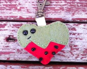 wool felt strawberry keychain / ornament / car rear view mirror decoration
