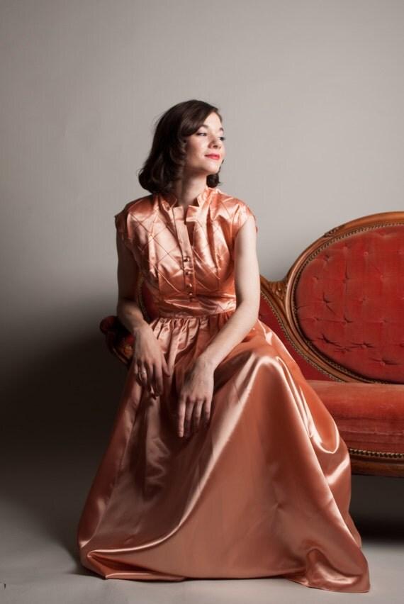 Vintage 1940s Evening Dress Satin 40s Dress Santa Clara