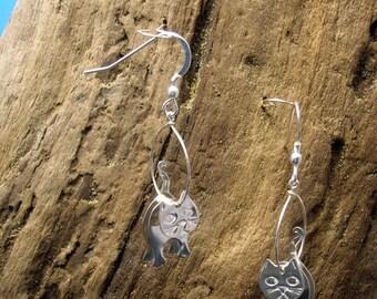 Sterling silver 3D Cat earrings