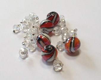 Circus - Lampwork Glass and Faceted Crystal - Bead and Drop Mix - 30 beads