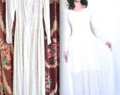 Vintage 1940's Dress // 40s White Leaf Print Wedding Dress // 40s Deputante Party Dress // DIVINE