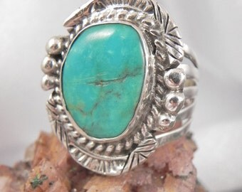 High End Turquoise Pawn Ring by Frank Smiley