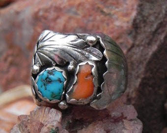 Huge Turquoise and Coral Sterling  Ring