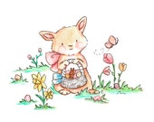 Easter/Spring Bunny -- Baby nursery print
