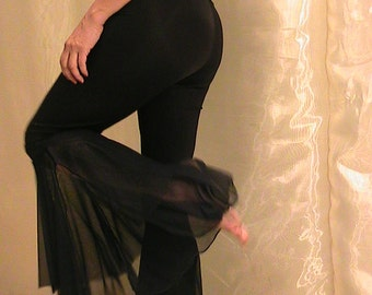 Tribal Belly Dance, Festival and Flamenco Flare Pants Black lycra jersey and stretch mesh Double flares