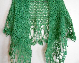 Spring Green Crochet Lace Shawl