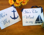 Nautical Wedding Signs Wood Navy Blue Beach Wedding Decor Military Bride and Groom Signs Large