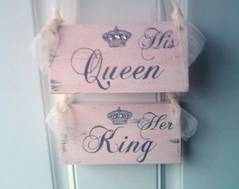 FAIRYTALE Wedding Signs CRYSTALS & CROWN His Queen and Her King in Light Pink Cinderella Wedding, Princess Wedding