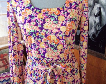 70s NYLON JERSEY MAXI--Little Orchid and Orange Flowers on Purple--Long Sleeves--Matching Sash--Back Zip--Size 10
