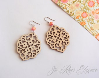Lightweight natural wood coral pink leaf earrings low shipping! made from laser cut wood