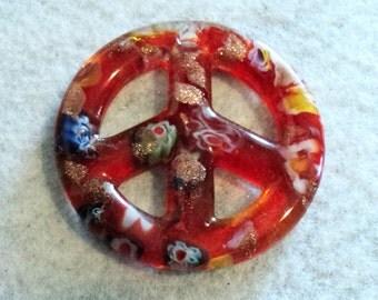 Murano Glass, Peace Sign, Floral Pendant, Murano Glass Pendant, Peace Sign Pendant, Jewelry Supplies, Orange, Floral, Glitter  - 2 in.