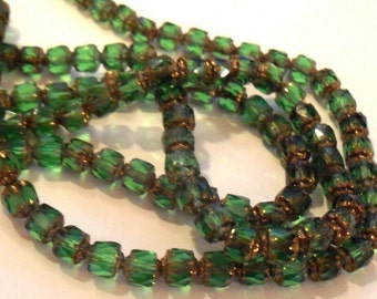 Green Crystal Cathedral Glass Beads, 6mm (20)