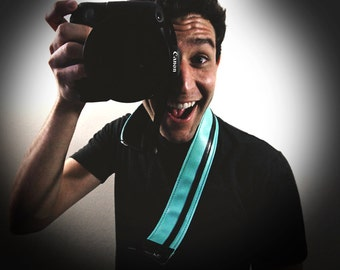 Aqua and Black Racer X camera strap - Upcycled guitar straps - eco vegan friendly