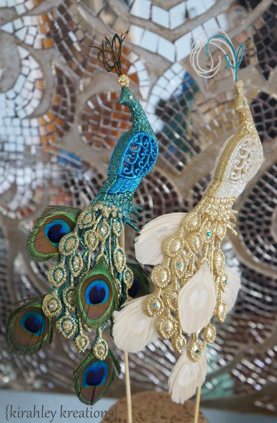 peacock wedding cake topper peacock wedding cake toppers glittery by kirahleykreations 18161