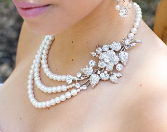 Bridal Pearl Necklace, Bridal Rhinestone Necklace, crystal and  Pearl necklace, Statement Bridal Necklace, Pearl Rhinestone Necklace, DARCIE