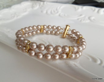 Pearl Bridal Bracelet,Champagne Pearls, Swarovski Pearls,Bridal Rhinestone Bracelet,Champagne Bridal Bracelet,Gold Bridal Bracelet,FRANCESCA