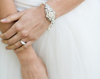 bridal pearl and rhinestone Bracelet, Statement Bridal Bracelet, Bridal Cuff, Wedding Rhinestone Bracelet, bridal swarovski crystal, AMELIA