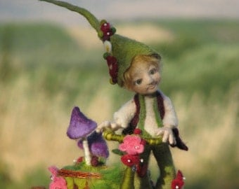 Needle felted doll Woodland elf with bike and red squirrel One of a kind
