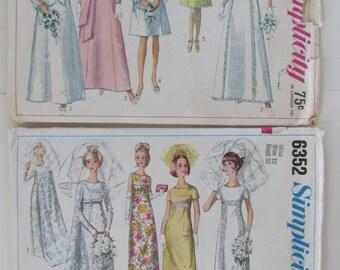 2    1970s Vintage Sewing Patterns for Wedding Dresses