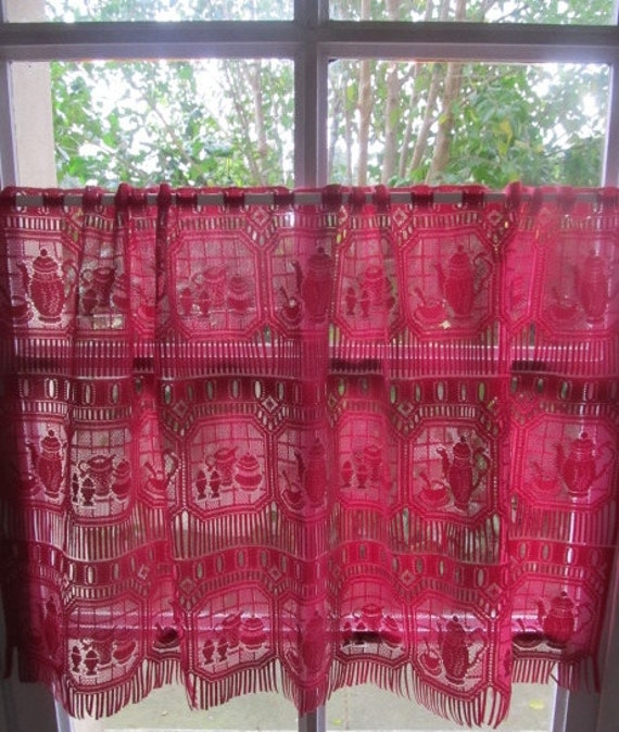 Red Lace Curtain Crimson Kitchen Curtain Cafe Curtain With