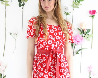 Cherry Bomb, Vintage, 1960s Red Floral Minidress, from Paris
