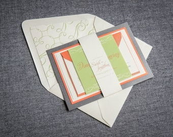 "Orange and Green Invitation Suite, Retro Wedding Invitation, Vintage Invitation Set, Layered Wedding Invite - ""Enchanting Vintage"" FP-2L-v1"