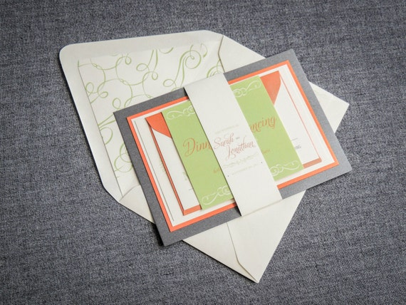 Orange And Green Wedding Invitations: Orange And Green Invitation Suite Retro Wedding Invitation