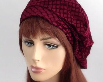 Burgundy Beret, French Beret, Large Beret, Chemo Hat, Slouchy Hat, Velvet,Boho, Gypsy, Fall 2014 trend, gift