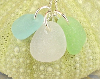 Sea Glass Necklace, Seaglass Necklace, Beach Glass Necklace, Beach Jewelry Trio Amethyst Seafoam Green and Turquoise Rare Pastel Colors