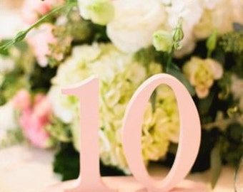 Pretty Wedding Table Numbers for Party Decor Standing Wooden Numbers on Bases for Wedding Reception Centerpieces (Item - NUM120)