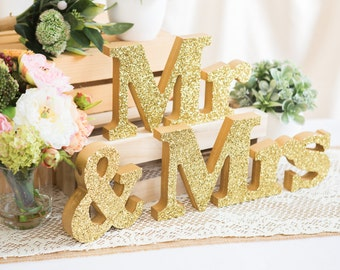 Mr and Mrs Signs for Sweetheart Table Decor Wooden Letters, Mr & Mrs Wedding Sign Set (Item - MTR100)