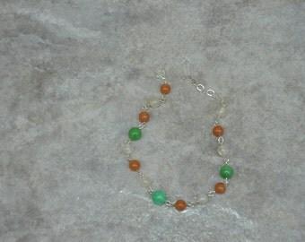 Bracelet, Wire Wrapped, wire wrap, wire wrapping, handmade bracelet, handmade jewelry, Quartz, Aventurine, gift for her, ooak, green, orange