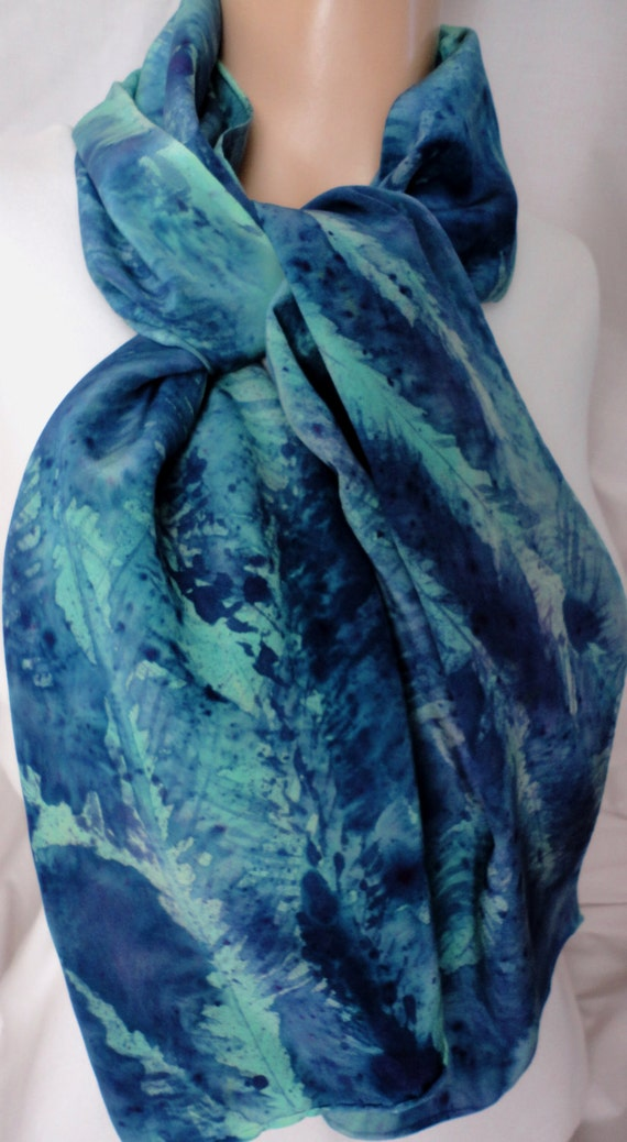 silk scarf Evergreen Pine large long crepe blue green unique painted