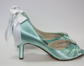 Wedding Shoes - Aqua Blue - Crystals - Aqua Blue Wedding - Dyeable Choose From Over 200 Colors - Wide Sizes Available - Shoes Parisxox