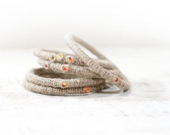 Linen Stacking Bracelets with Fireopal Swarovski Crystals, Five Bangles Set, Bohemian Bangles