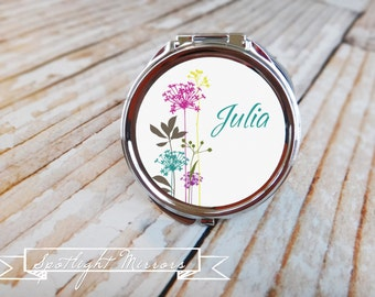 Baby Shower Favor - Custom Compact or Pocket Mirror - Pink Stems