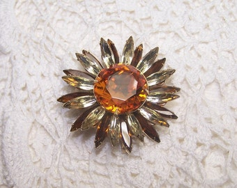 Signed Judy Lee Amber Rhinestone Brooch Vintage Jewelry Flower 3D Navette Autumn Fall Colors Collectible Rare Large Center Stone