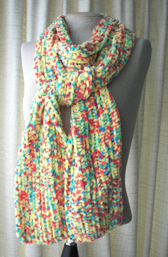 SOFT Chenille HAND Knit Scarf in Yellow multi color