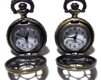 Pocket Watch Steampunk Mens Cufflinks Antique Victorian Style Golden Brass Cuff links