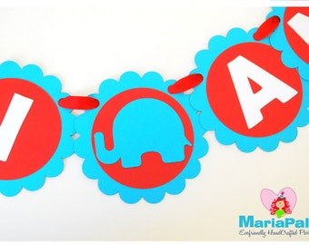 Elephant Birthday Banner, Elephant  NAME Banner, Elephant Handmade Banner or baby shower party banner - Colorful banner  A1024