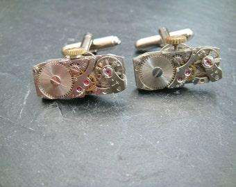 UK Seller rectangular  Cufflinks with Swiss Made Watch Movements ideal birthday gift for a steampunk lover